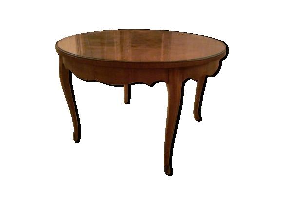 Table ronde plateau en marqueterie