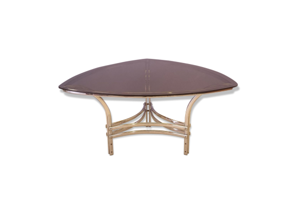 Table repas triangulaire en courbe en verre et m tal for Table a manger triangulaire