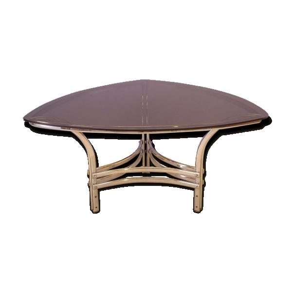 table repas triangulaire en courbe en verre et m tal. Black Bedroom Furniture Sets. Home Design Ideas