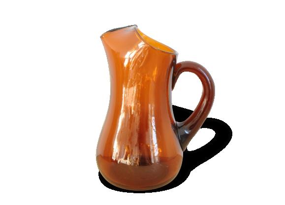 Carafe / cruche en verre soufflé bouche vintage 70