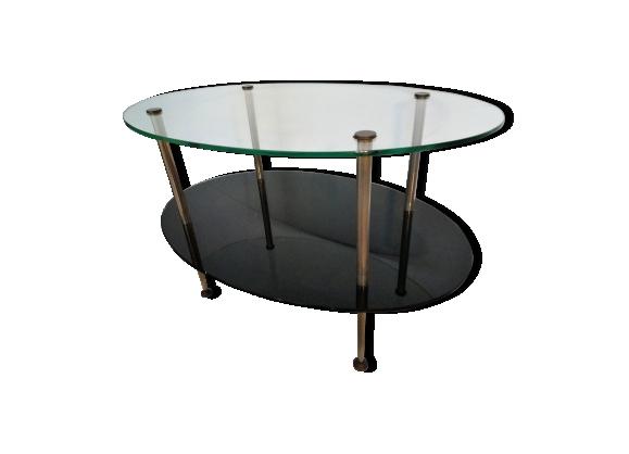 Table vintage en verre et métal