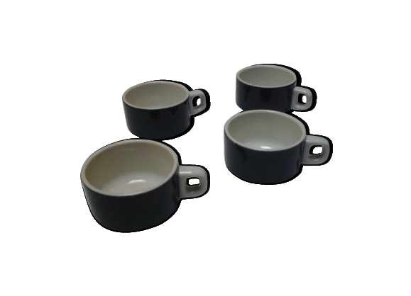 4 tasses bistrot bleu nuit et blanches