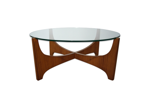 Table basse en verre et teck style scandinave teck for Table basse scandinave verre