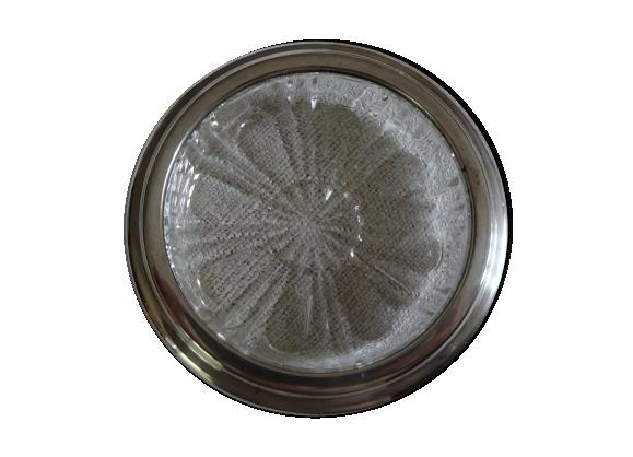 Dessous de carafe en verre et métal argenté