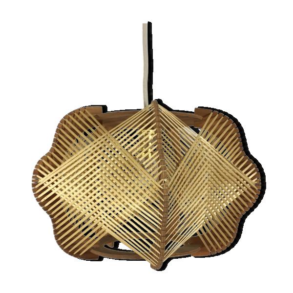 suspension fil et bois scandinave des ann es 60 bois mat riau blanc bon tat vintage. Black Bedroom Furniture Sets. Home Design Ideas