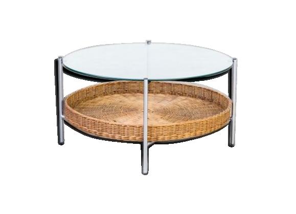 Table basse ronde en verre et osier années 60/70