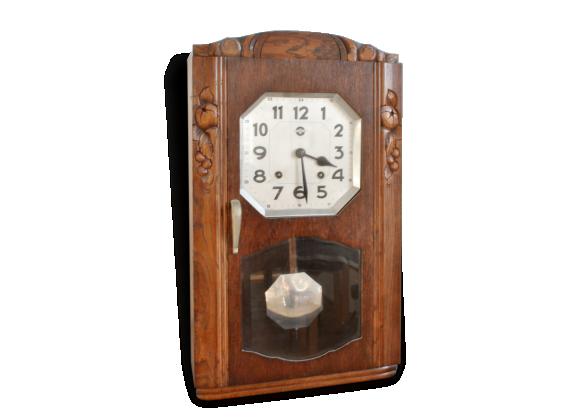 horloge carillon pendule carrez ancien bois mat riau bois couleur bon tat. Black Bedroom Furniture Sets. Home Design Ideas