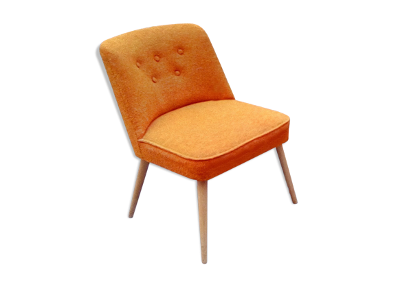 fauteuil scandinave cocktail chauffeuse orange ann es 50 60 orange tissu orange dans son. Black Bedroom Furniture Sets. Home Design Ideas