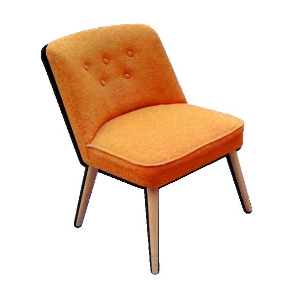 fauteuil scandinave cocktail chauffeuse orange ann es 50 60 orange tissu orange dans son. Black Bedroom Furniture Sets. Home Design Ideas