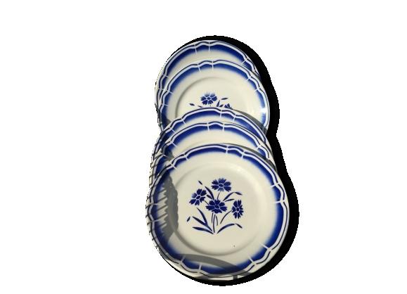 6 assiettes anciennes au motif 'fleurs bleues'