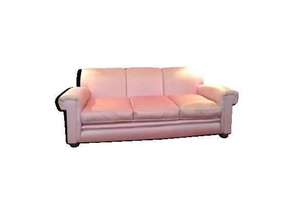 canap de tapissier 3 places en satin rose poudr tissu. Black Bedroom Furniture Sets. Home Design Ideas