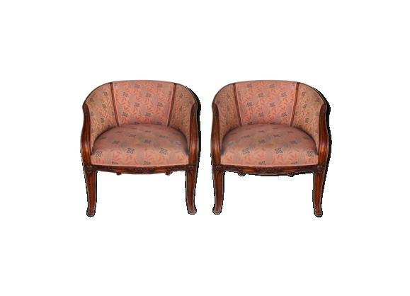 Paire de fauteuils art déco 1930 Louis Majorelle forme nénuphar
