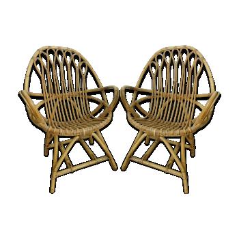 Paire de fauteuils en rotin ovoïdes vintage
