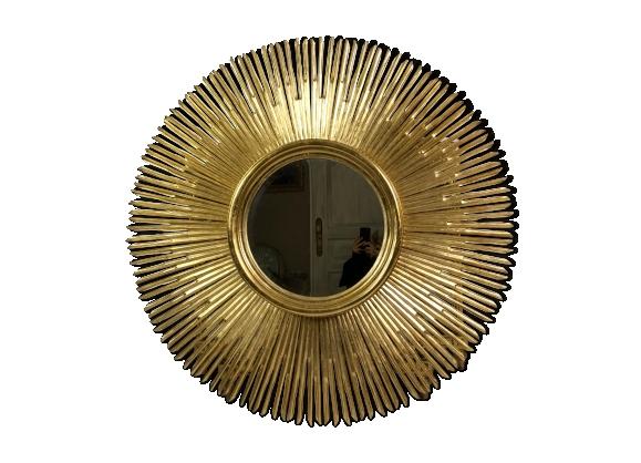 Miroir dor soleil for Miroir bordure doree