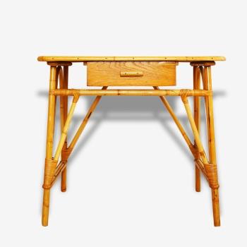 ancien petit pupitre d colier en bois et m tal bois mat riau bon tat classique 81787. Black Bedroom Furniture Sets. Home Design Ideas