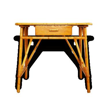 bureau enfant vintage 1960 70 pieds m tal bois mat riau marron dans son jus vintage. Black Bedroom Furniture Sets. Home Design Ideas