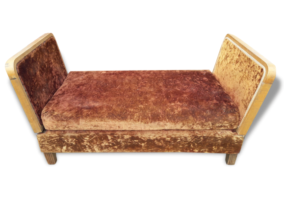 banquette canape fauteuil ep art deco 1930 tissu marron bon tat art d co 157971. Black Bedroom Furniture Sets. Home Design Ideas