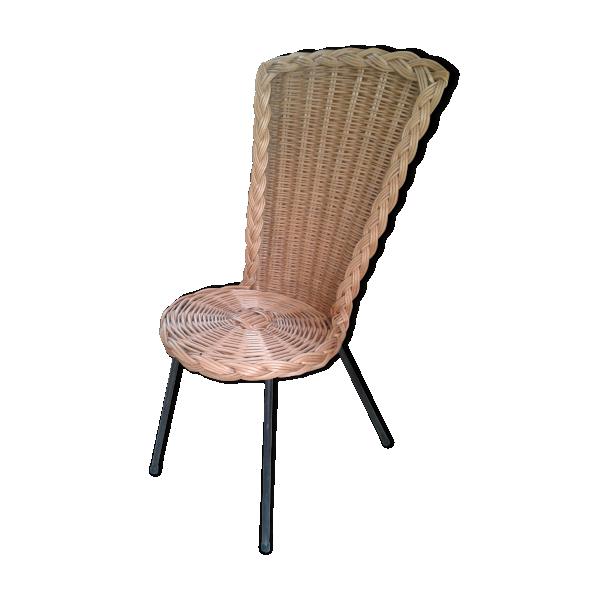 chaise rotin vintage ann es 60 avec pi tement m tal rotin et osier bois couleur bon tat. Black Bedroom Furniture Sets. Home Design Ideas
