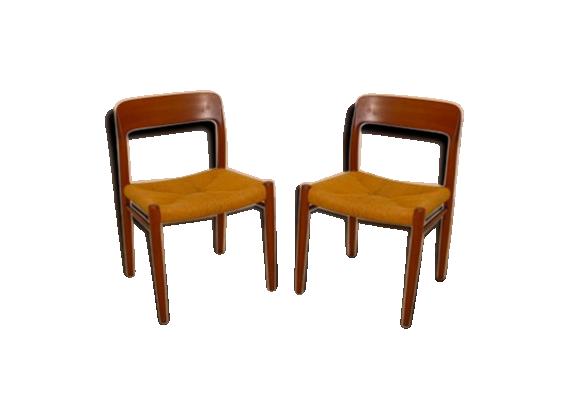 paire de chaises vintage danoise niels o moller bois mat riau bois couleur bon tat. Black Bedroom Furniture Sets. Home Design Ideas