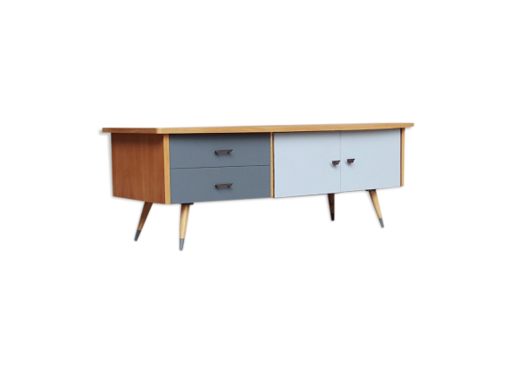 meuble bas pieds compas bois mat riau bois couleur bon tat scandinave. Black Bedroom Furniture Sets. Home Design Ideas