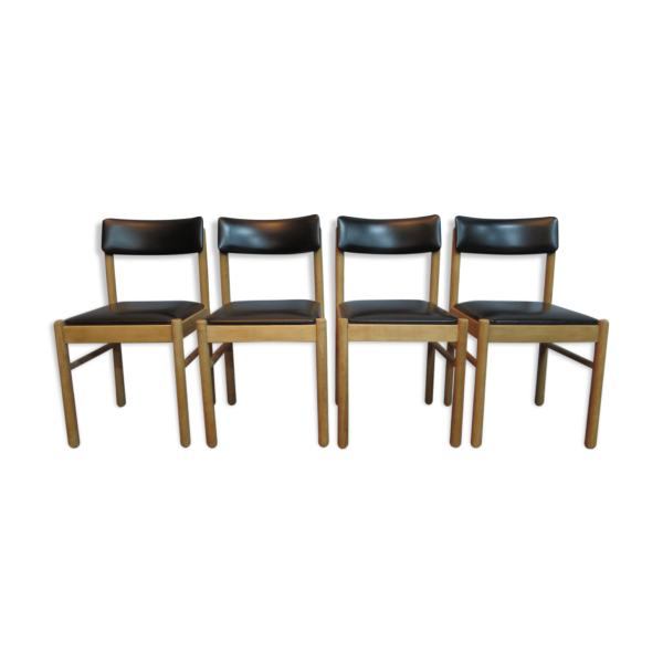 lot de 4 chaises en bois brut et skai bois mat riau bois couleur bon tat scandinave. Black Bedroom Furniture Sets. Home Design Ideas
