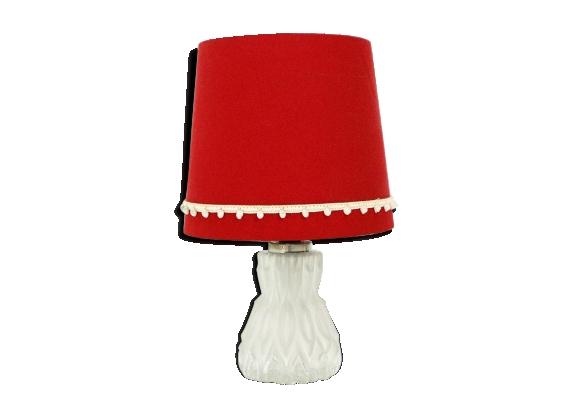 Lampe de table des années 50 avec base de verre lumineux