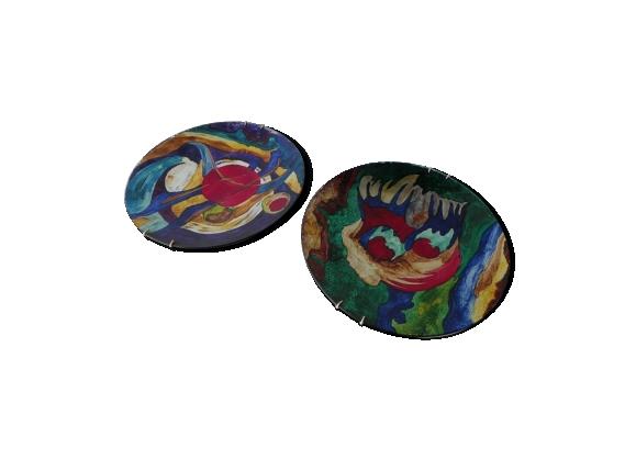 Paire d'assiettes décoratives abstraites 1970s