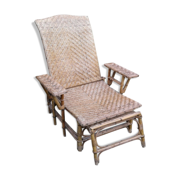 transat chaise longue en rotin rotin et osier beige dans son jus vintage. Black Bedroom Furniture Sets. Home Design Ideas