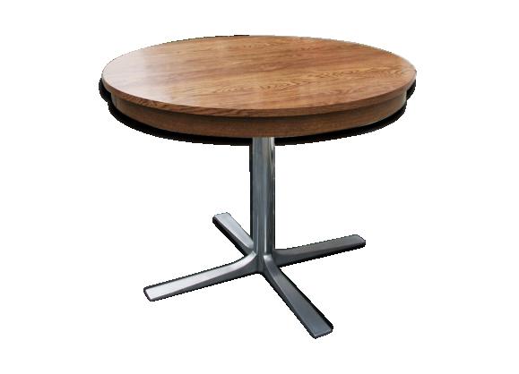 Table de salle manger ann es 1970 bois mat riau for Table circulaire extensible