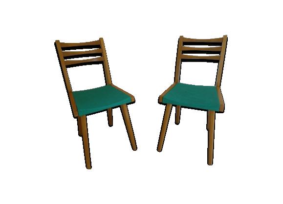 paire de chaise ann es 60 en ska vert bois mat riau vert dans son jus vintage. Black Bedroom Furniture Sets. Home Design Ideas
