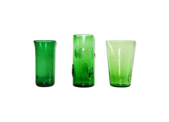 vases en verre souffl vert italien empoli verre et. Black Bedroom Furniture Sets. Home Design Ideas