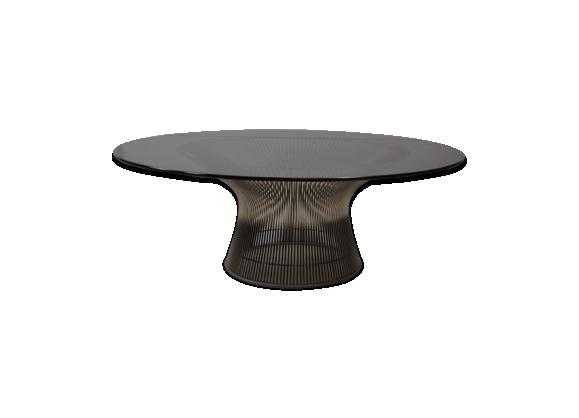 Table Basse en Métal & Verre Rond par Warren Platner pour Knoll