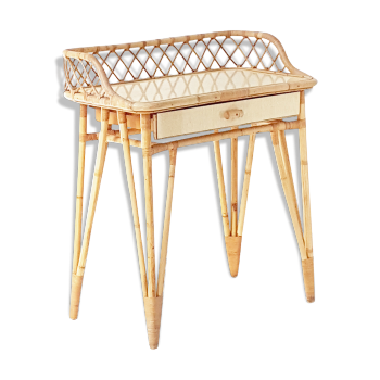 Coiffeuse console ou petit bureau 1950 en rotin & bambou vintage 50's