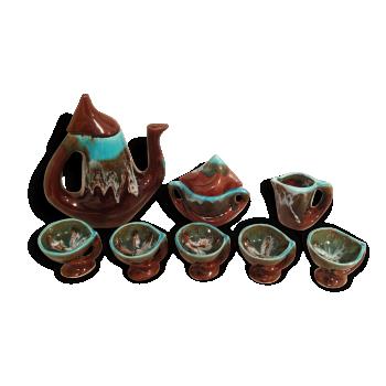 Service à Café ou Thé Ancien VALLAURIS 8 Pièces Céramique