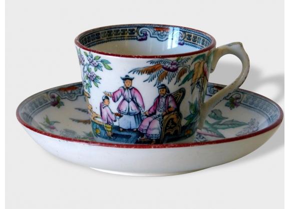 Anciennes tasses et soucoupes James Beech Staffordshire England 'Pekin' Cygne. Fin 19e.