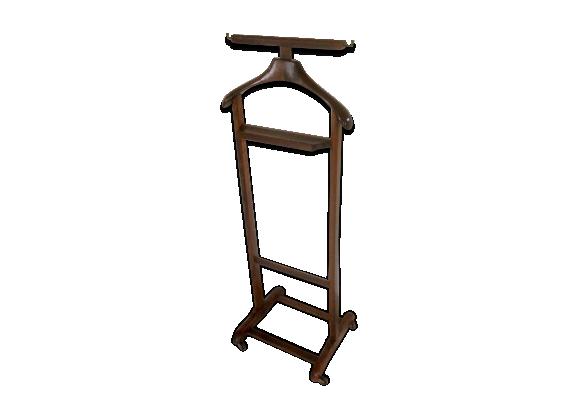 valet en bois vintage sur roulette bois mat riau marron bon tat vintage. Black Bedroom Furniture Sets. Home Design Ideas