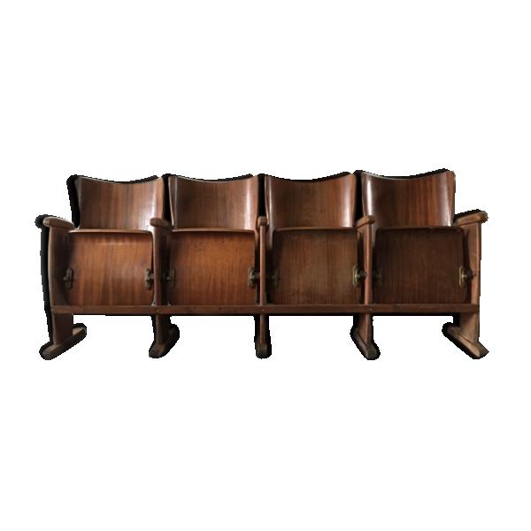 banquette de cin ma en bois bois mat riau marron bon tat vintage. Black Bedroom Furniture Sets. Home Design Ideas