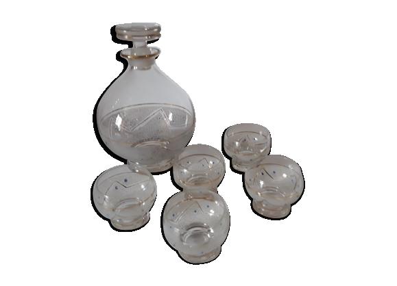 Carafe et 5 verres granités vintage