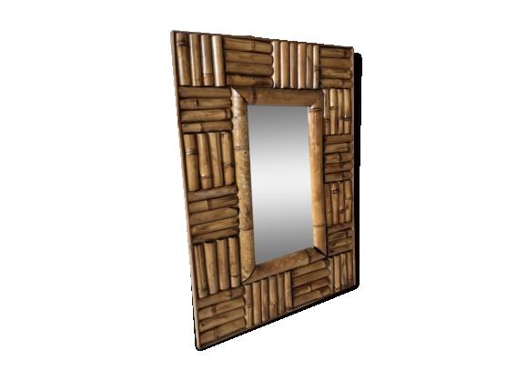 Miroir rectangle en rotin 51x36cm