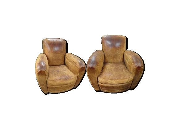 Ancienne paire de fauteuil club style art deco 1930, cuir usé