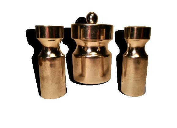 Set 3 pieces, metal argenté .1970's