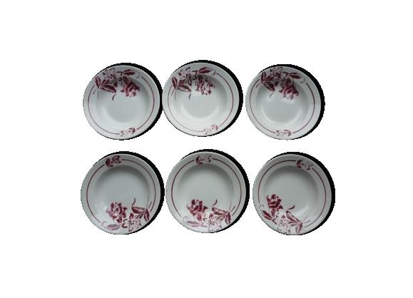 6 assiettes creuses Digoin-Sarreguemines à fleurs rouges
