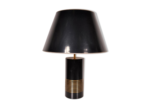 lampe de bureau noire avec socle noir en laiton 1970s laiton noir bon tat art d co. Black Bedroom Furniture Sets. Home Design Ideas