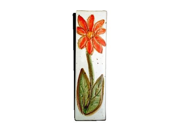 Vase carré céramique à motif de fleur vintage