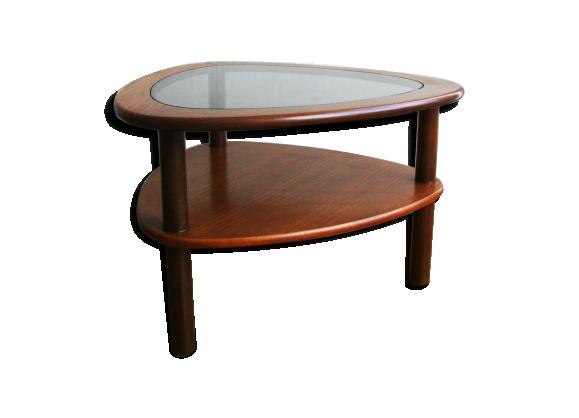 Table basse en teck et verre forme libre 1960 teck - Table basse teck et verre ...