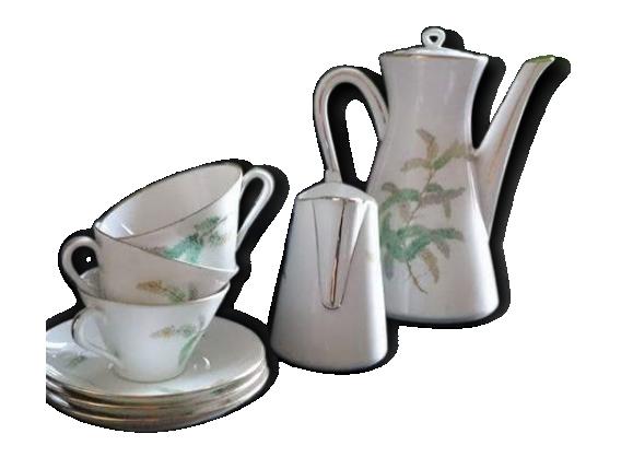 Service à café vintage, porcelaine de Limoges LF. Décor 'Feuilles'