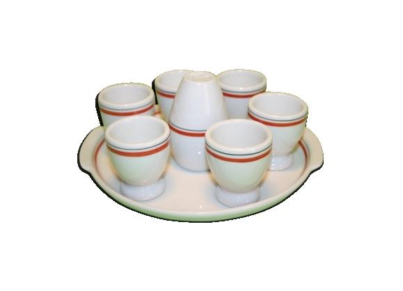 Service à coquetiers sur plateau et salière bistro porcelaine d'auteuil