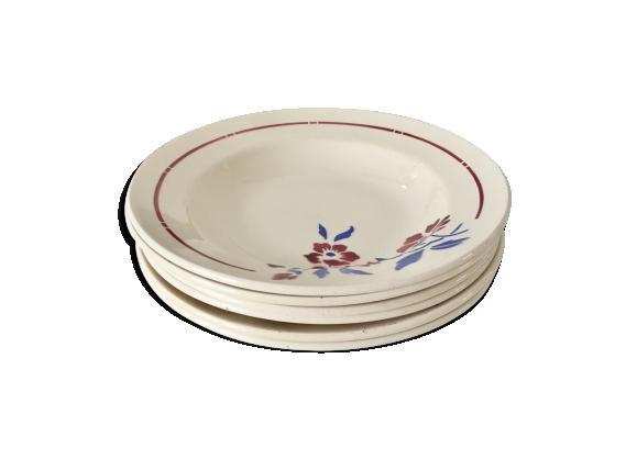 Lot de 6 assiettes creuses porcelaine opaque fleurs