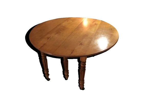 Table ronde style empire en bois merisier massif 6 pieds sur roulettes