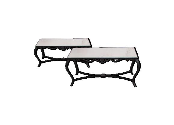 Paire de tables basses en fer forgé plateau miroir